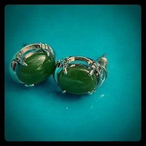 Jade Oval Stud Earrings